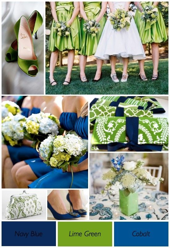 "Lime Green and Blue Wedding theme .. except my girls would wear ""cobalt"""