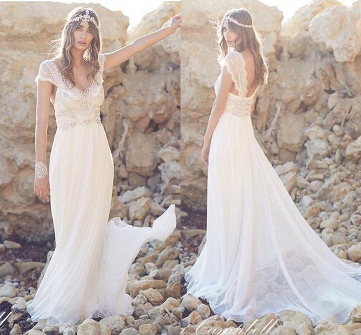 Сексуальные бисером кристалл корсет шифон урожай 2016 пляж анна кэмпбелл свадебные платья люкс спинки свадебные платья невесты платья купить на AliExpress