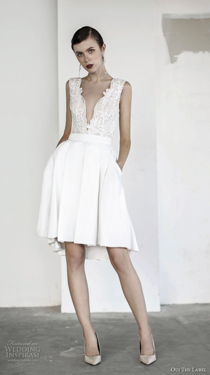 oui the label 2017 bridal sleeveless deep v neck heavily embellished bodice pleated skirt romantic sexy above knee short wedding dress with pockets open v back (14a) mv -- OUI The Label 2017 Wedding Dresses