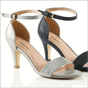 Meet Judy. A comfortable heel with adjustable strap. Sizes: 4 - 8 Colour: Silver or black