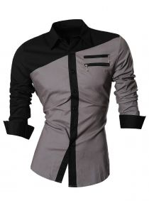 Long Sleeve Zipper Embellished Color Block Shirt