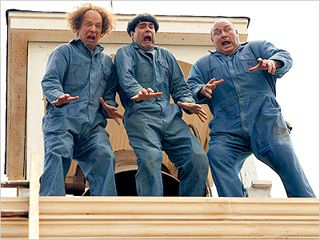 BACK IN ACTION Sean Hayes, Chris Diamantopoulos and Will Sasso play the classic trio in this The Three Stooges remake