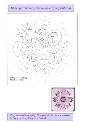 ED030 Mandala 3 on Craftsuprint designed by Emy van Schaik - Stitching with beads - Now available for download!