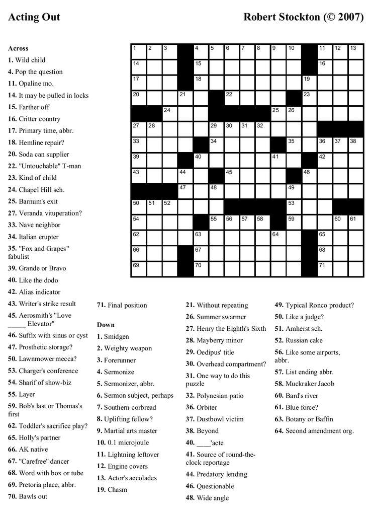 Free Printable Crossword Puzzles Printable crossword