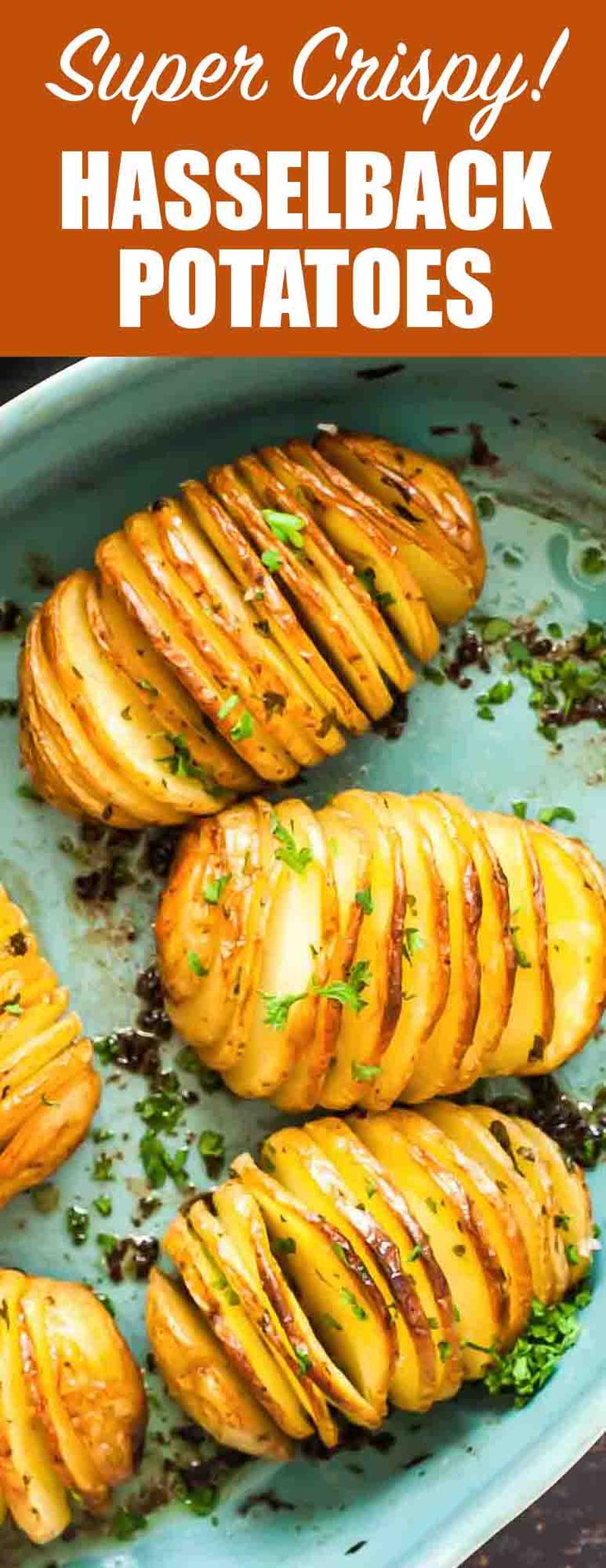 Crispy Hasselback Potatoes! Vertical slices and an extra-long roast in the oven makes these potatoes both beautiful and delicious. So many crispy edges! Perfect holiday side dish.