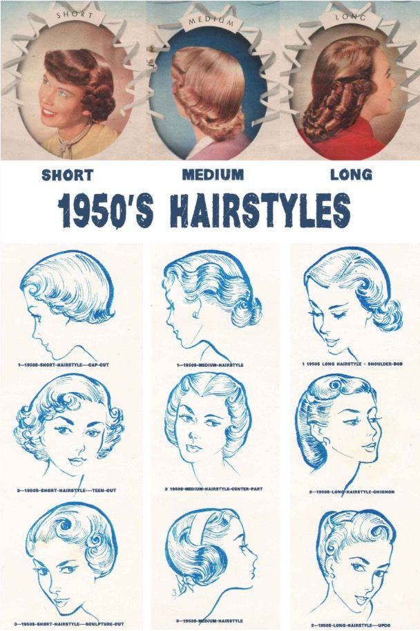 Hair styles Source: http://glamourdaze.com/2015/04/1950s-hairstyles-chart-for-your-hair-length.html