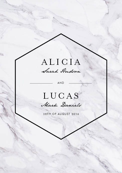 The wedding invitation keeping with the place settings theme. Marble is a modern look for 21st century minimalist weddings.