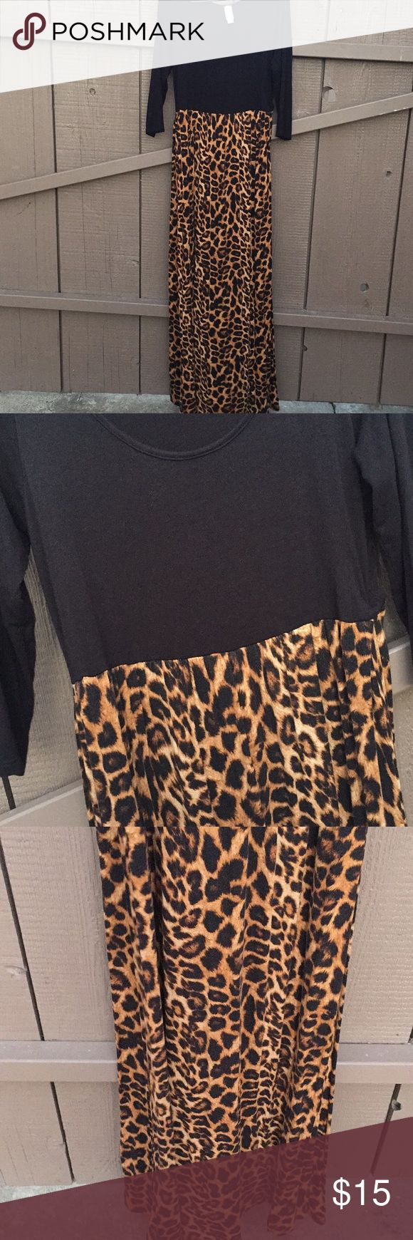 Leopard Maxi Dress Leopard Maxi Dress.  Size XL.  Good condition. GIDDY UP GLAMOUR Dresses Maxi