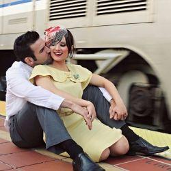 A sweet vintage engagement shoot at the Santa Ana train station in Southern  California.