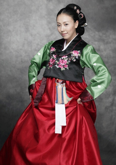 Korean traditional dress (hanbok) - celadon green, beautiful red, touches of rose and black.