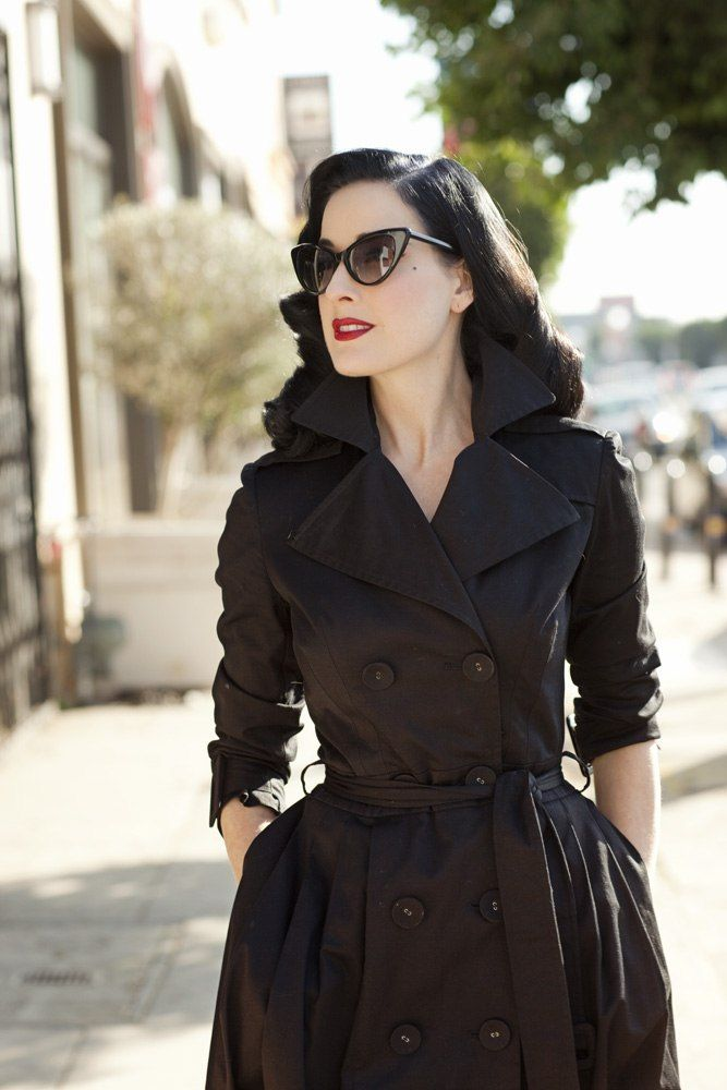 Retrochic street style on Dita von teese...black trench ...