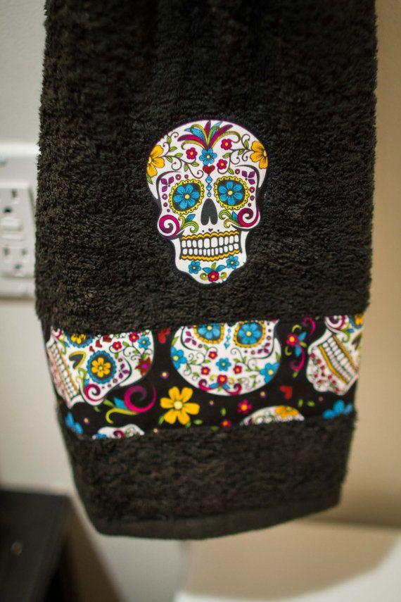 New Custom Bathroom Decor Shower Curtain Bath Towels Hand Towel Rockabilly Rocker Rock And Roll Punk Skull Sugar Black