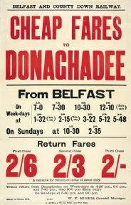 £18 travelpostersonline.com   Irish Railway Timetable Poster, Cheap Fares to Donaghadee From Belfast, North Ireland