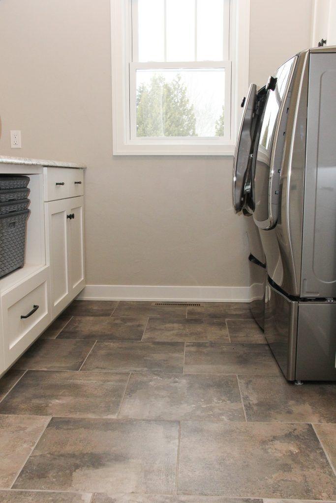 Dark Gray And Tan Tile Laundry Room Floor Tile Floor