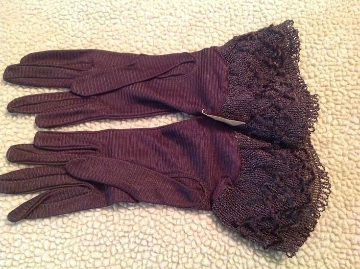 Lovely Vintage NOS 30s Max Mayer's Brown Cuffed Ladies Gloves sz 6 Unworn Unused #MaxMayers #wheneverownerwants