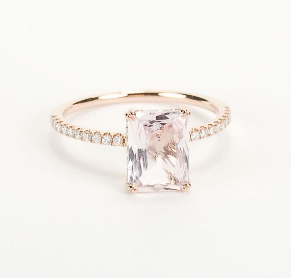 Certified Peach Pink Champagne Radiant Cut Sapphire by SundariGems, $2420.00