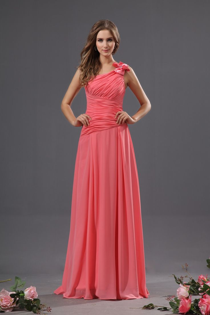 Buy cheap strapless floor length chiffon coral bridesmaid dress - Bridesmaid Dresses Coral Buy Cheap Fits Perfectly 2013 Coral Bridesmaid Dress With One Shoulder