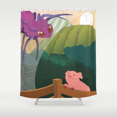 The spider and the pig Shower Curtain #teachergiftideas シャーロットのおくりもの シャワーカーテン