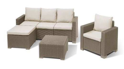 The Moorea Set - R 9900 incl FREE delivery - Sophisticated cappuccino-colour, off-set by luxurious sand coloured cushions (included). Comprised of a 3-seater sofa, hocker, table and single chair – you will have a classic and elegant space to entertain or relax all year round. All-weather, round-wicker design made from durable, UV-stabilised plastic resin with a 3 year guarantee – expertly crafted in The Netherlands by Allibert, part of the Keter Group.  http://za.keter.com/558792