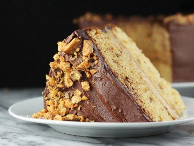 What's Better Than Homemade Butterfinger? Butterfinger Cake! via Brit + Co.