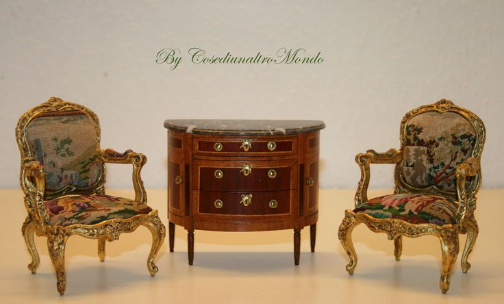 Handmade miniature furniture, 1/12 scale for dolls' house.