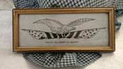 Antique Pin Ink Signed Eagle American Flag Drawing Gold Frame