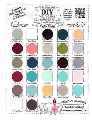 debi 39 s diy paint colour chart diy paint color