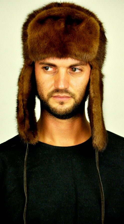 Russian style  - mink fur hat. Fur on both sides of the front and ear flaps. Handmade fur hat  www.amifur.com