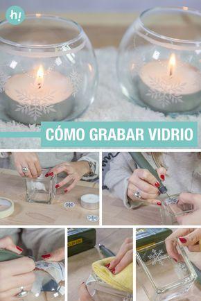 Cómo grabar vidrio ➜ Aprende a grabar sobre vidrio y personaliza unos portavelas para esta Navidad. #Navidad #Adornos #Xmas #Christmas #Handfie #DIY #Handmade #Ideas #Vidrio #Cristal #Tallar