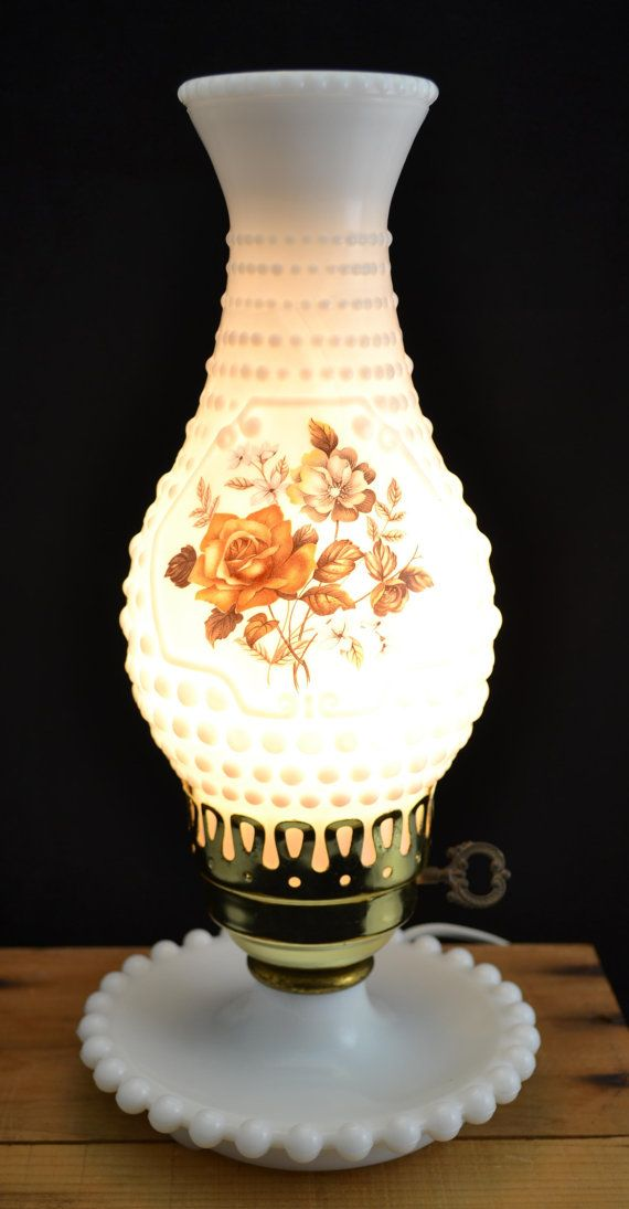Very Nice Vintage Milk Glass Hobnail Hurricane Electric Table Lamp