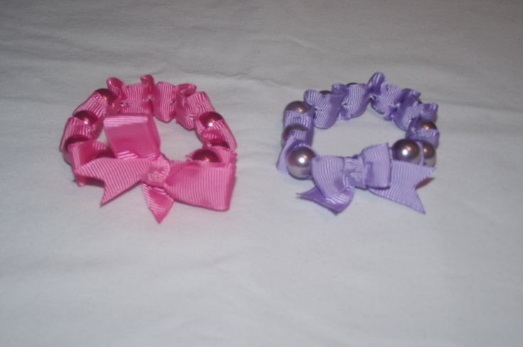Faux pearl and ribbon stretch bracelets..... https://www.facebook.com/SatinWireAndLace