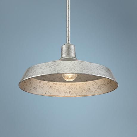 Galvanized Metal 15 Quot Wide Industrial Pendant Light