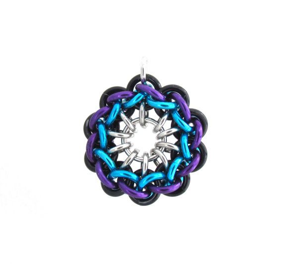 Spiral Chain Maille Pendant Jump Ring Jewelry by XairianMaille, $22.00