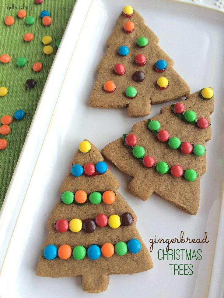 GINGERBREAD CHRISTMAS TREES | soft & thick gingerbread cookies decorated with m&m ornaments! http://www.togetherasfamily.com