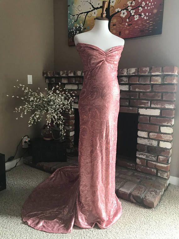 cf6f5d73c0 Luxury mauve sequin maternity dress