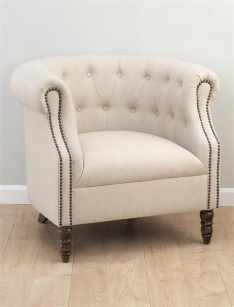 Grace Traditional Natural Wood Fabric Tufted Club Chair