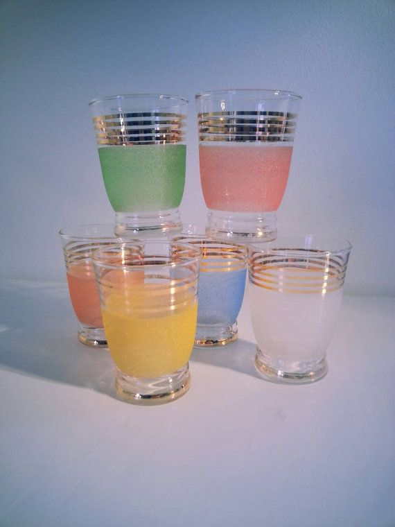 Vintage Retro 1950s Candy Coloured Frosted Glass Fruit Juice with Gold Stripes, Shot glasses, Summer, Colorful, for Breakfast and Picknick..