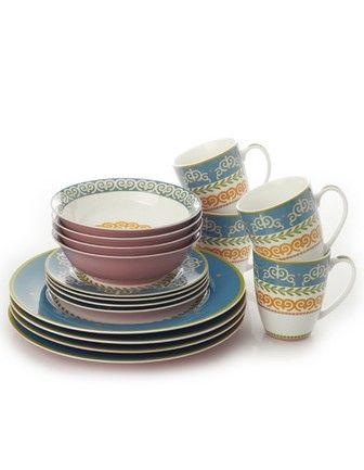 Maxwell & Williams Bone China - Vivacious Collection, Blue (avail in 5 colors) - Dinner Set, 16-pc (avail in 5-pc place setting/20-pc Set)