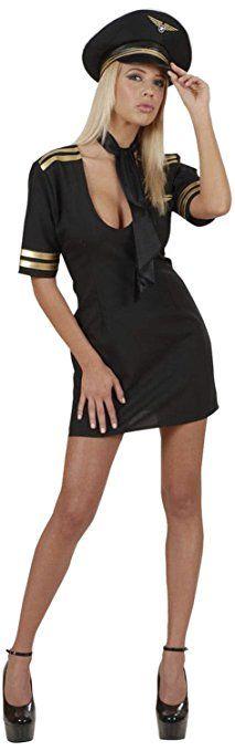 Widmann 77111 - Erwachsenenkostüm Pilotin, Kleid mit Halstuch und Hut