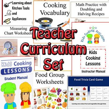 Tips on how to teach cooking as well as menu ideas and recipes for teaching kids.