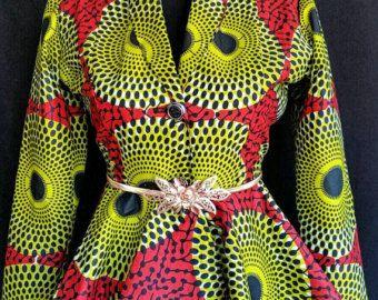 Estilo de chaqueta princesa Top con estampado africano, Ankara mujeres ropa, ropa africana