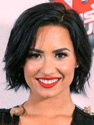 (Demi Lovato) chin length bob, untrimmed bangs, no maintenance, supa sytlish