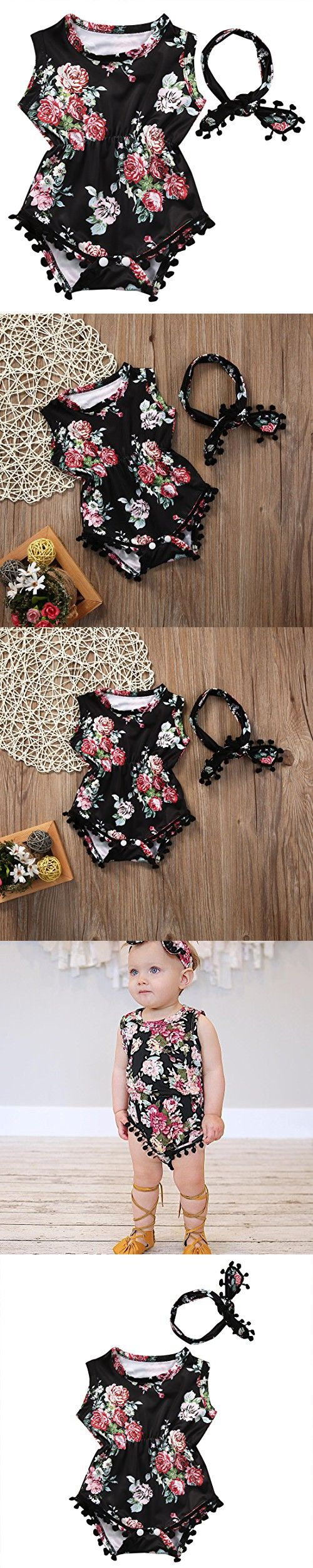 Cute Adorable Floral Romper Baby Girls Sleeveless Tassel Romper One-pieces +Headband Sunsuit Outfit Clothes (18-24 Months, Black)