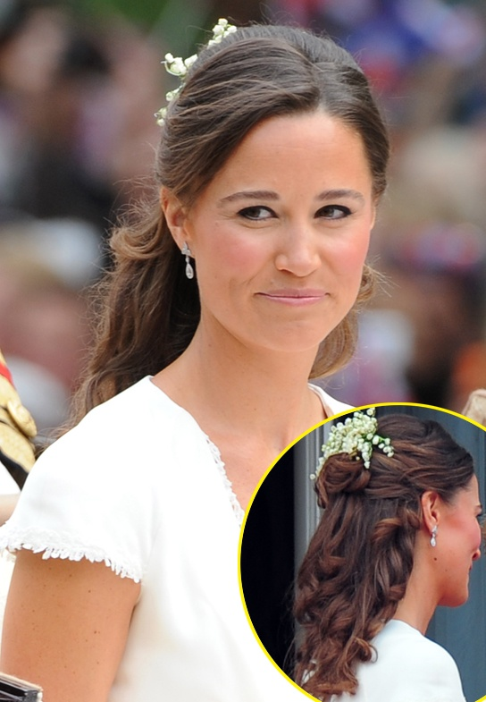 "Stylist Giovanni says: ""I think she did a particularly great job choosing a style that would look good in photos from any angle, because it keeps her neck and jawline open."" Read More at: http://hollywoodlife.com/2011/05/03/pippa-middleton-kate-middleton-royal-wedding-hair/#utm_source=copypaste_campaign=referral"