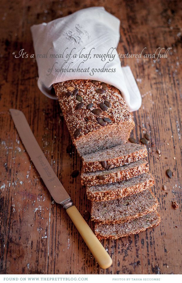 Wholewheat Seed Loaf     Ingredients:    3 cups (750 ml) whole wheat flour  1 cup (250 ml) oats  1/2 (125 ml) cup bran  1 cup (125 ml) mixed seeds (like sesame, poppy, sunflower, pumpkin and/or linseeds)  1 T (15 ml) dried yeast  1 T (15 ml) honey  2 cups (500 ml) warm water  2 t (10 ml) salt  1 T 15 ml) sunflower oil  a mix of seeds from sprinkling over the top