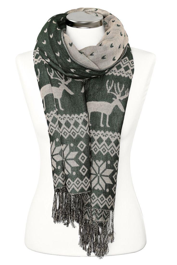 Damen Strickschal Norweger Muster Rentier Schal Wollschal Winterschal Feinstrick Neverless®