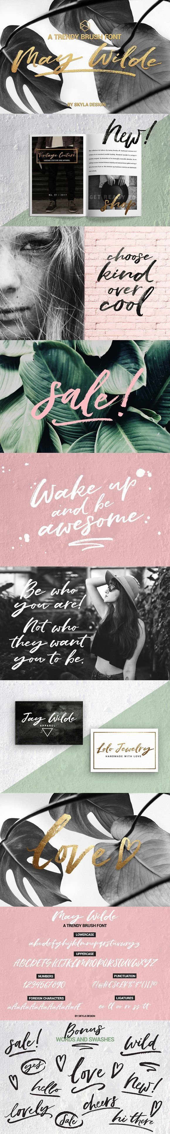 Trendy brush font, May Wilde by Skyla Design on @Creative Market