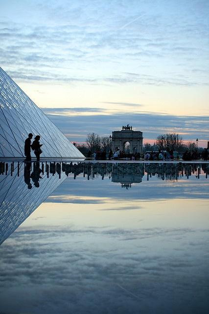 Louvre Pyramid, designed by the architect Ieoh Ming Pei, Cour Napoléon, Louvre Palace, Paris I