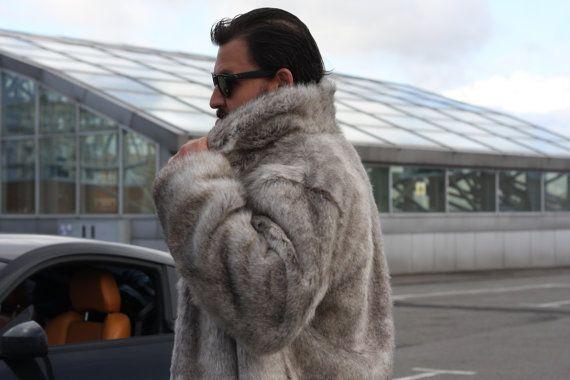 Faux fur man coat / Burning man coat / Playa coat / Warm man