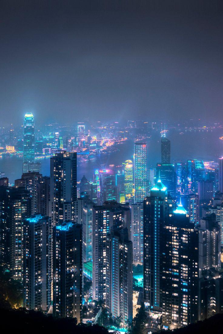 Hong Kong Print Victoria Peak Skyline Print Urban Etsy Hong Kong Night New York City Travel Cityscape Photography